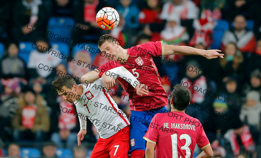 Slobodan Rajkovic Poljska - Srbija prijateljska, Poland - Serbia friendly football match, March 23. 2016. Poznan  (credit image & photo: Pedja Milosavljevic / STARSPORT)
