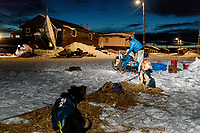 Matt Failor readies to leave the Kaltag checkpoint early on Sunday March 10th during the 2019 Iditarod Trail Sled Dog Race.<br /> <br /> Photo by Jeff Schultz/  (C) 2019  ALL RIGHTS RESERVED