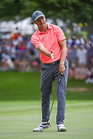 Jordan Spieth (USA) reacts to barely missing his birdie putt on 5 during round 2 of the 2019 Charles Schwab Challenge, Colonial Country Club, Ft. Worth, Texas,  USA. 5/24/2019.<br /> Picture: Golffile   Ken Murray<br /> <br /> All photo usage must carry mandatory copyright credit (© Golffile   Ken Murray)