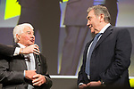 Raymond Poulidor (FRA) and Eddy Merckx (BEL) on stage at the Tour de France 2019 route presentation held at Palais de Congress, Paris, France. 25th October 2018.<br />
