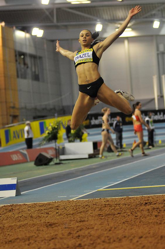 Photo: Tony Oudot/Richard Lane Photography. Aviva World Trials & UK Championships. 14/02/2010. .Womens Long Jump, .Louise Hazel.