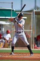 GCL Marlins catcher Matthew Foley (26) at bat during the first game of a doubleheader against the GCL Cardinals on August 13, 2016 at Roger Dean Complex in Jupiter, Florida.  GCL Cardinals defeated GCL Marlins 4-2 in a continuation of a game originally started on August 8th.  (Mike Janes/Four Seam Images)