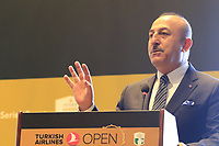 Mevlut Cavusoglu, Minister of Foreign Affairs, speaks at a press conference during Wednesday's Pro-Am of the 2018 Turkish Airlines Open hosted by Regnum Carya Golf &amp; Spa Resort, Antalya, Turkey. 31st October 2018.<br /> Picture: Eoin Clarke | Golffile<br /> <br /> <br /> All photos usage must carry mandatory copyright credit (&copy; Golffile | Eoin Clarke)