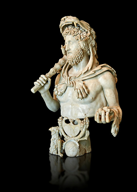 Roman marble bust of Commodus as Hercules. Circa191-192 AD found in an underground chamber in the Horti Lamiani area of Rome. The son of Marcus Aurelus is shown with the features of Hercules and is characterised by Greek hero's attributes: the lion's skin, the club, the apples of Hesperides. The character is accompanied by fantastic sea creatures in a composition symbolising his apotheosis. The work can be dated to the final period of the life of Commodus, between 191-192 AD.Commodus was one of Rome's bad crazy Emperors being sadistic and debauched with a harem of 300 concubines to choose from. His favourite role playing character was that of Hercules and Commodus ordered many statues to be made showing him dressed as Hercules with a lion's hide and a club. He thought of himself as the reincarnation of Hercules, frequently emulating the legendary hero's feats by appearing in the arena to fight a variety of wild animals. Commodus raised the ire of many military officials in Rome for his Hercules persona in the arena. Often, wounded soldiers and amputees would be placed in the arena for Commodus to slay with a sword. Commodus's eccentric behaviour would not stop there. Citizens of Rome missing their feet through accident or illness were taken to the arena, where they were tethered together for Commodus to club to death while pretending they were giants.[17] These acts may have contributed to his assassination. Such ruthless antics probably led to the violent death of Commodus when a wrestler assassinated him by strangling him to death. MC.1120 Capitoline Museums, Rome