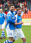 Dundee United v St Johnstone.....04.05.13      SPL.Michael Doughty and Paddy Cregg celebrate at full time.Picture by Graeme Hart..Copyright Perthshire Picture Agency.Tel: 01738 623350  Mobile: 07990 594431