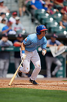 Buffalo Bisons Nash Knight (8) at bat during an International League game against the Pawtucket Red Sox on August 25, 2019 at Sahlen Field in Buffalo, New York.  Buffalo defeated Pawtucket 5-4 in 11 innings.  (Mike Janes/Four Seam Images)
