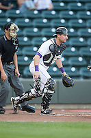 Winston-Salem Dash catcher Sean O'Connell (14) on defense against the during the game against the Frederick Keys at BB&T Ballpark on May 24, 2016 in Winston-Salem, North Carolina.  The Keys defeated the Dash 7-1.  (Brian Westerholt/Four Seam Images)