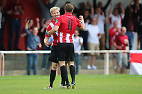 Brad Warner of Hornchurch celebrates his goal with Alex Bentley and gestures to the Hornchurch faithful during AFC Hornchurch vs Soham Town Rangers, Bostik League Division 1 North Football at Hornchurch Stadium on 12th August 2017