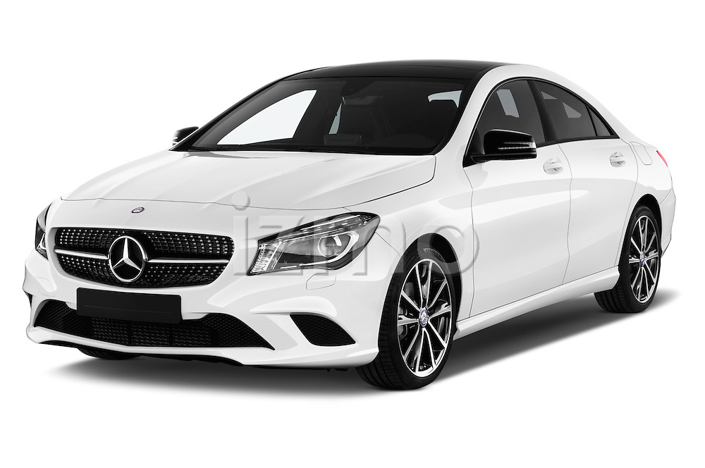 2016 Mercedes Benz CLA - 4 Door Sedan Angular Front stock photos of front three quarter view