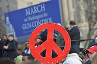 January 26, 2013  (Washington, DC)  A peace sign is displayed during a rally for gun control on the National Mall in Washington, D.C. (Photo by Don Baxter/Media Images International)