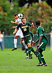 13 September 2009: University of Vermont Catamount midfielder Kyle Luetkehans, a Junior from LaGrange, IL, heads the ball against the University of Massachusetts Minutemen during the second round of the 2009 Morgan Stanley Smith Barney Soccer Classic held at Centennial Field in Burlington, Vermont. The Catamounts and Minutemen battled to a 1-1 double-overtime tie. Mandatory Photo Credit: Ed Wolfstein Photo
