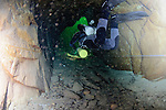Exiting Hodge Close mine following a dive to Chamber 3