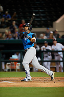 Tampa Tarpons right fielder Isiah Gilliam (24) hits a double during a Florida State League game against the Lakeland Flying Tigers on April 5, 2019 at Publix Field at Joker Marchant Stadium in Lakeland, Florida.  Lakeland defeated Tampa 5-3.  (Mike Janes/Four Seam Images)