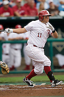 Oklahoma's Cody Reine in Game 3 of the NCAA Division One Men's College World Series on Sunday June 20th, 2010 at Johnny Rosenblatt Stadium in Omaha, Nebraska.  (Photo by Andrew Woolley / Four Seam Images)