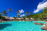 Swimming pool, Hilton Moorea Lagoon Resort, island of Moorea, French Polynesia.