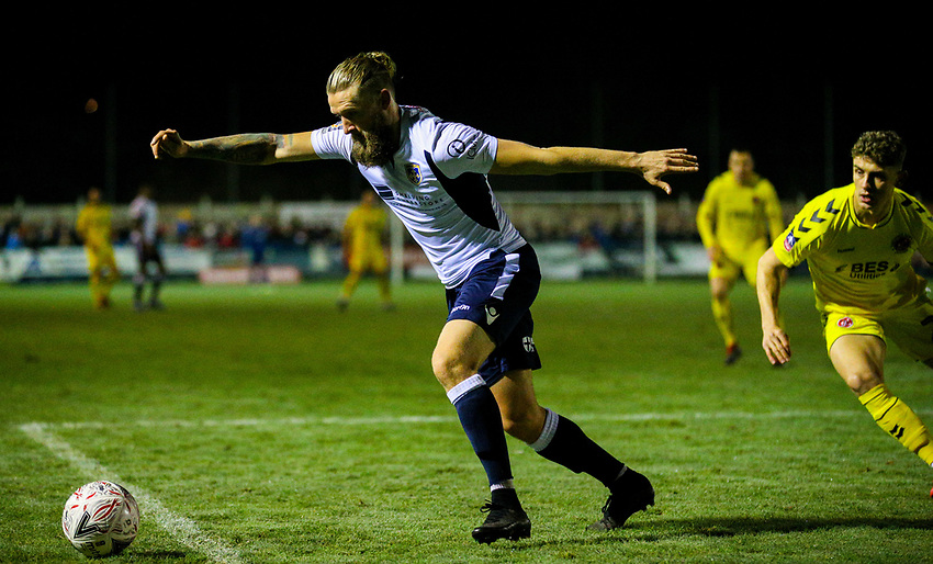 Guiseley's Kingsley James clears his lines<br /> <br /> Photographer Alex Dodd/CameraSport<br /> <br /> The Emirates FA Cup Second Round - Guiseley v Fleetwood Town - Monday 3rd December 2018 - Nethermoor Park - Guiseley<br />  <br /> World Copyright © 2018 CameraSport. All rights reserved. 43 Linden Ave. Countesthorpe. Leicester. England. LE8 5PG - Tel: +44 (0) 116 277 4147 - admin@camerasport.com - www.camerasport.com