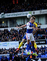 Birmingham City's Michael Morrison battles with Ipswich Town's Kayden Jackson<br /> <br /> Photographer Hannah Fountain/CameraSport<br /> <br /> The EFL Sky Bet Championship - Ipswich Town v Birmingham City - Saturday 13th April 2019 - Portman Road - Ipswich<br /> <br /> World Copyright © 2019 CameraSport. All rights reserved. 43 Linden Ave. Countesthorpe. Leicester. England. LE8 5PG - Tel: +44 (0) 116 277 4147 - admin@camerasport.com - www.camerasport.com