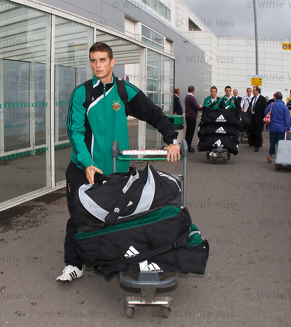 Rapid Vienna midfielder Christopher Drazan arrives at Glasgow airport