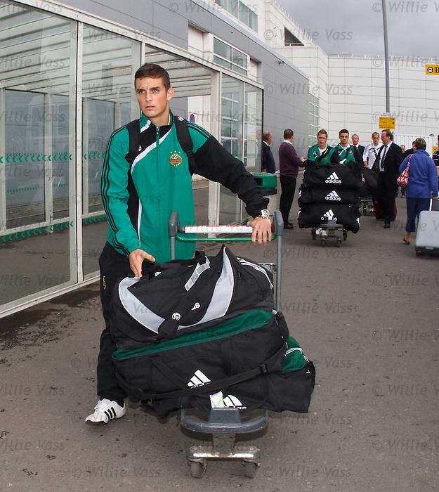 Rapid Vienna midfielder Christopher Drazan arrives at Glasgow airport