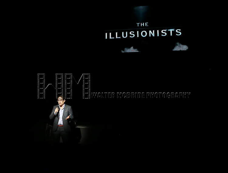 Simon Painter performing in a press preview of 'The Illusionists' at Mariott Marquis Theatre on December 2, 2014 in New York City.