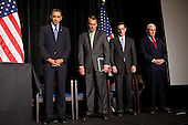 United States President Barack Obama bows his head during the invocation at the nationally televised Republican House Issues Conference at the Renaissance Baltimore Harborplace Hotel in Baltimore, Maryland, January 29, 2010. With the President on-stage, from left, are US House Republican leader John Boehner (Republican of Ohio), US House Republican Whip Eric Cantor (Republican of Virginia) and Chair of the US House Republican Conference Mike Pence (Republican of Indiana). <br /> Mandatory Credit: Pete Souza / White House via CNP