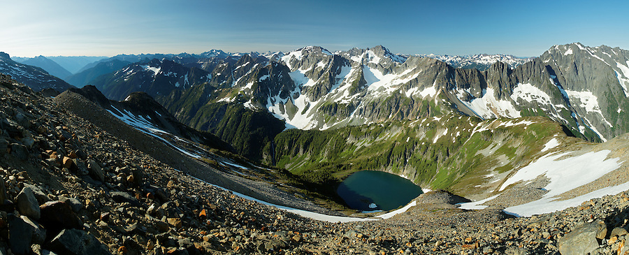 View of Doubtful Lake and Washington's North Cascade Mountains from Sahale Arm, North Cascades National Park, Washington State, USA