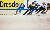 2nd February 2019, Dresden, Saxony, Germany; World Short Track Speed Skating; final, 1000 meters women in the EnergieVerbund Arena: Winner Sofia Proswirnowa from Russia runs alongside Natalia Maliszewska from Poland and Choi Jihyun from South Korea and Alyson Charles from Canada.