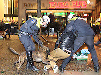 Police tries to control clashes with Celtic's supporters at Dam square downtown Amsterdam on 6 November, 2013. Celtic from Ireland, they play against Ajax Amsterdam for the Champions League football match in Arena tonight. Photo by Paulo Amorim