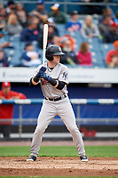 Scranton/Wilkes-Barre RailRiders right fielder Clint Frazier (77) at bat during a game against the Syracuse Chiefs on June 14, 2018 at NBT Bank Stadium in Syracuse, New York.  Scranton/Wilkes-Barre defeated Syracuse 9-5.  (Mike Janes/Four Seam Images)