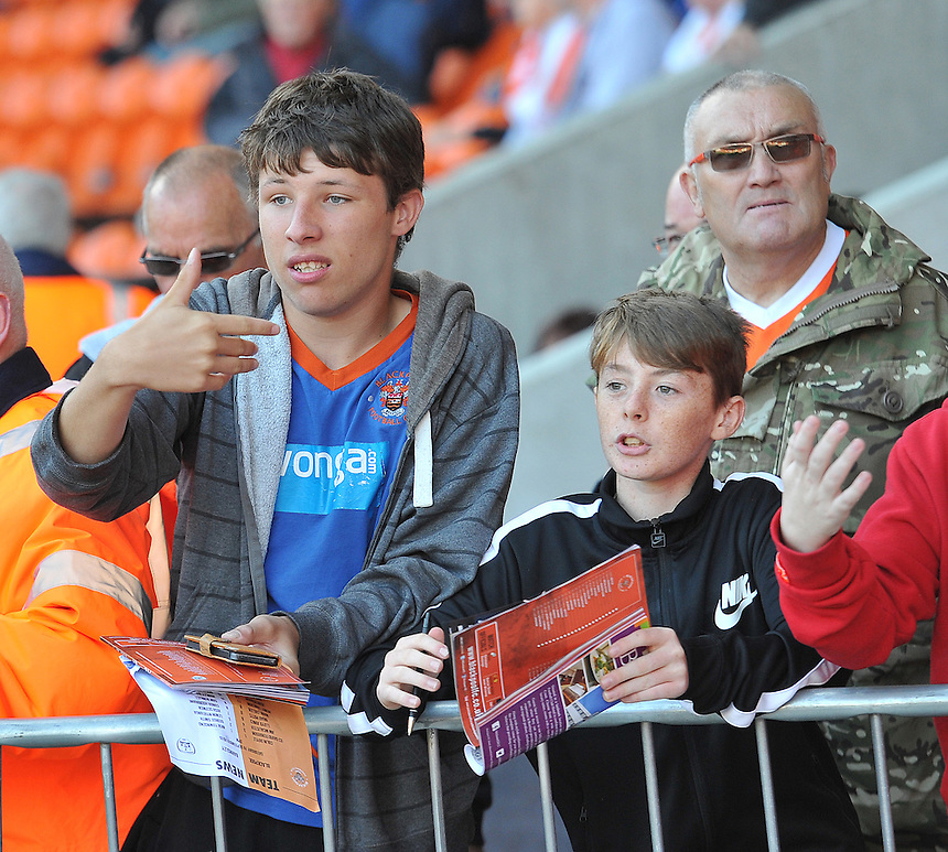 Fans<br /> <br /> Photographer Dave Howarth/CameraSport<br /> <br /> Football - The Football League Sky Bet League One - Blackpool v Barnsley - Saturday 19th September 2015 - Bloomfield Road - Blackpool<br /> <br /> &copy; CameraSport - 43 Linden Ave. Countesthorpe. Leicester. England. LE8 5PG - Tel: +44 (0) 116 277 4147 - admin@camerasport.com - www.camerasport.com