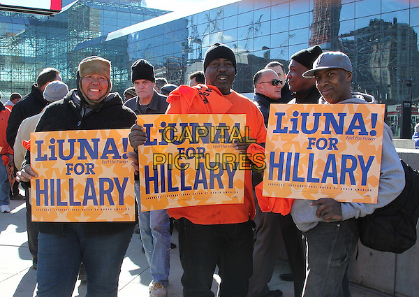 NEW YORK, NY - MARCH 2:   A members of the Laborers International Union of North America (LiUNA) and Hillary Clinton supporters outside Hillary Clinton rally at the Jacob Davits Center in New York, New York on March 2, 2016.  <br /> CAP/MPI/RMP<br /> &copy;RMP/MPI/Capital Pictures
