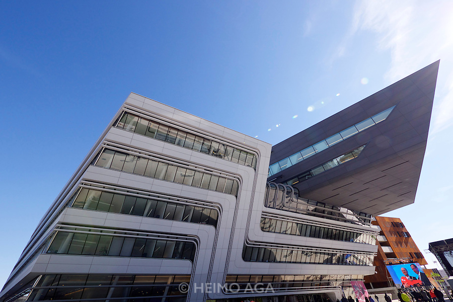Vienna, Austria. Opening Day of the new WU Campus (University of Economics).<br /> LC (Learning Center) by Zaha Hadid Architects, Hamburg.<br /> On the screen: BIG Executive Director Wolfgang Gleisner with the symbolic key.