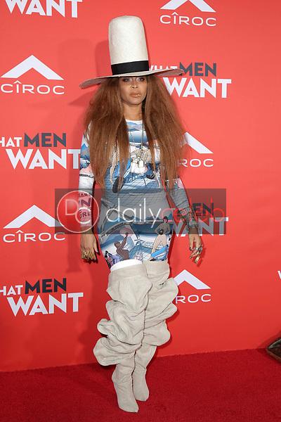 "Erykah Badu<br /> at the ""What Men Want"" Premiere, Village Theater, Westwood, CA 01-28-19<br /> David Edwards/DailyCeleb.com 818-249-4998"