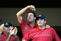 Captain Paul Azinger leads the celebrations with Ben Curtis at the clubhouse victory over Europe after the Singles on the Final Day of the Ryder Cup at Valhalla Golf Club, Louisville, Kentucky, USA, 21st September 2008 (Photo by Eoin Clarke/GOLFFILE)
