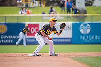 Alex Yarbrough (9) of the Salt Lake Bees between innings ragainst the Colorado Springs Sky Sox in Pacific Coast League action at Smith's Ballpark on May 24, 2015 in Salt Lake City, Utah.  (Stephen Smith/Four Seam Images)