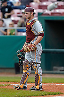 Minnesota Gophers catcher Kurt Schlangen #15 during a game against the USF Bulls at the Big Ten/Big East Challenge at Al Lang Stadium on February 19, 2012 in St. Petersburg, Florida.  (Mike Janes/Four Seam Images)