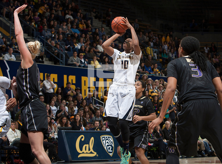 Mercedes Jefflo of California shoots the ball during the game against Washington at Haas Pavilion in Berkeley, California on March 1st, 2014.   Washington defeated California, 70-65.