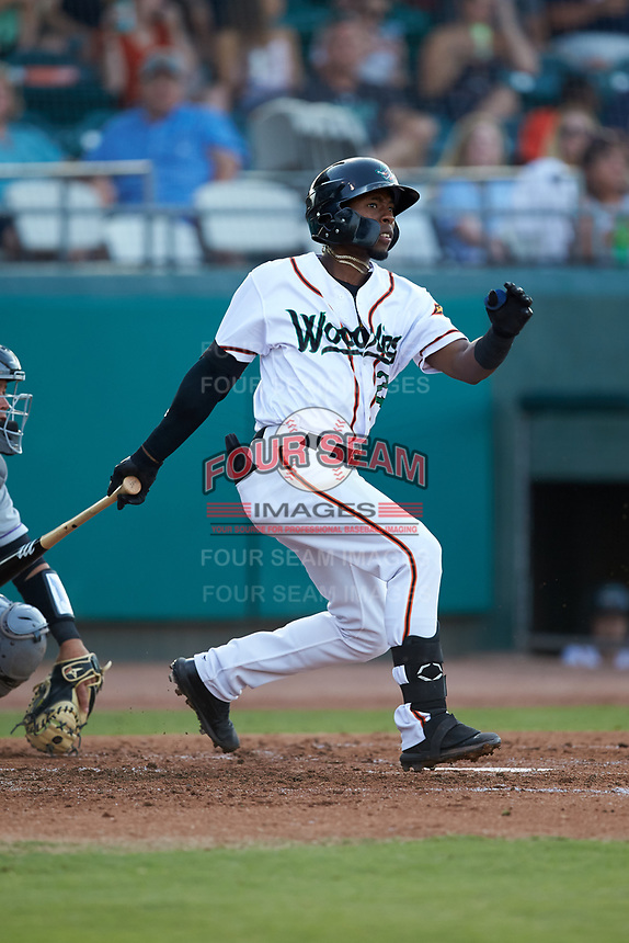 Julio Pablo Martinez (23) of the Down East Wood Ducks follows through on his swing against the Winston-Salem Dash at Grainger Stadium Field on May 17, 2019 in Kinston, North Carolina. The Dash defeated the Wood Ducks 8-2. (Brian Westerholt/Four Seam Images)