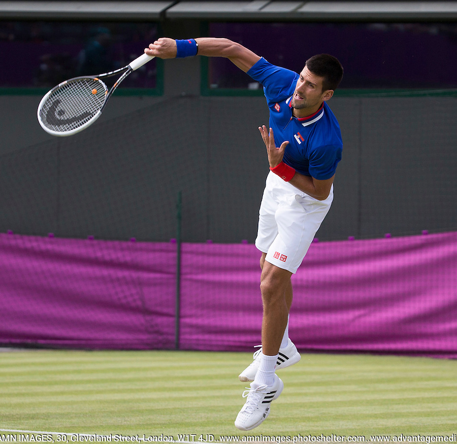 Novak Djokovic - Serbia..Tennis - OLympic Games -Olympic Tennis -  London 2012 -  Wimbledon - AELTC - The All England Club - London - Friday 29th June  2012. .© AMN Images, 30, Cleveland Street, London, W1T 4JD.Tel - +44 20 7907 6387.mfrey@advantagemedianet.com.www.amnimages.photoshelter.com.www.advantagemedianet.com.www.tennishead.net