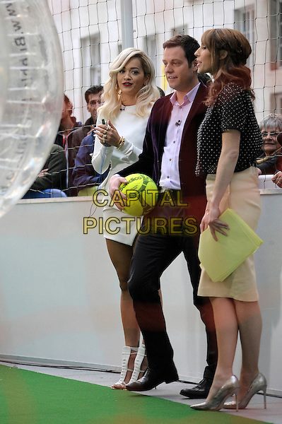 LONDON, ENGLAND - MAY 14: Rita Ora &amp; Alex Jones at BBC Broadcasting House on 14th May 2014 in London, England.<br /> CAP/IA<br /> &copy;Ian Allis/Capital Pictures