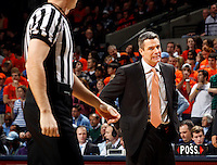 Virginia head coach Tony Bennett makes a face at the official during the game against North Carolina at the John Paul Jones arena in Charlottesville, Va. Virginia defeated North Carolina 61-52.