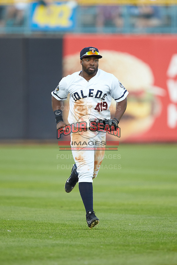 Toledo Mud Hens left fielder Christin Stewart (20) jogs off the field between innings of the game against the Louisville Bats at Fifth Third Field on June 16, 2018 in Toledo, Ohio. The Mud Hens defeated the Bats 7-4.  (Brian Westerholt/Four Seam Images)
