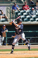 Liberty University Flames catcher Matt Allen (14) at bat during a game against the University of Virginia Cavaliers  at Joseph P. Riley Ballpark on February 17, 2017 in Charleston, South Carolina. Virginia defeated Liberty 10-2. (Robert Gurganus/Four Seam Images)