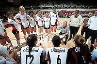 STANFORD, CA - September 2: Head Coach John Dunning talks with his team during a volleyball match against UC Irvine, September 2, 2010 in Stanford, California. Stanford won 3-0.