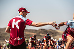Team Katusha-Alpecin helper hands out bidons to his team riders during Stage 3 of the 2018 Tour of Oman running 179.5km from German University of Technology to Wadi Dayqah Dam. 15th February 2018.<br /> Picture: ASO/Muscat Municipality/Kare Dehlie Thorstad | Cyclefile<br /> <br /> <br /> All photos usage must carry mandatory copyright credit (&copy; Cyclefile | ASO/Muscat Municipality/Kare Dehlie Thorstad)