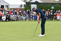 Dustin Johnson (USA) sinks his putt on 3 during round 4 of the 2019 US Open, Pebble Beach Golf Links, Monterrey, California, USA. 6/16/2019.<br /> Picture: Golffile | Ken Murray<br /> <br /> All photo usage must carry mandatory copyright credit (© Golffile | Ken Murray)