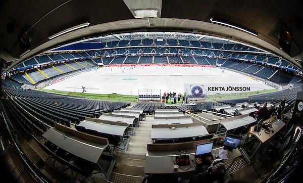 Solna 2014-03-15 Bandy SM-final Damer Kareby IS - AIK  :  <br /> Generell vy &ouml;ver bandyplanen p&aring; Friends Arena fr&aring;n pressl&auml;ktaren<br /> (Foto: Kenta J&ouml;nsson) Nyckelord:  SM SM-final final dam damer Kareby AIK press media