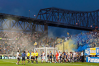 The Philadelphia Union  and D. C. United enter the field. The Philadelphia Union defeated D. C. United 2-0 during a Major League Soccer (MLS) match at PPL Park in Chester, PA, on August 10, 2013.