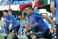 San Jose, CA - Saturday August 05, 2017: Darwin Ceren prior to a Major League Soccer (MLS) match between the San Jose Earthquakes and the Columbus Crew at Avaya Stadium.