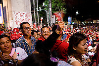 Red Shirt supporters are applauding their leaders while daily speeches in the camp of Ratchaprasong in the center of Bangkok that they occupied during two months.